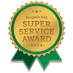 Photo of the Super Service Award given by Angie's List.